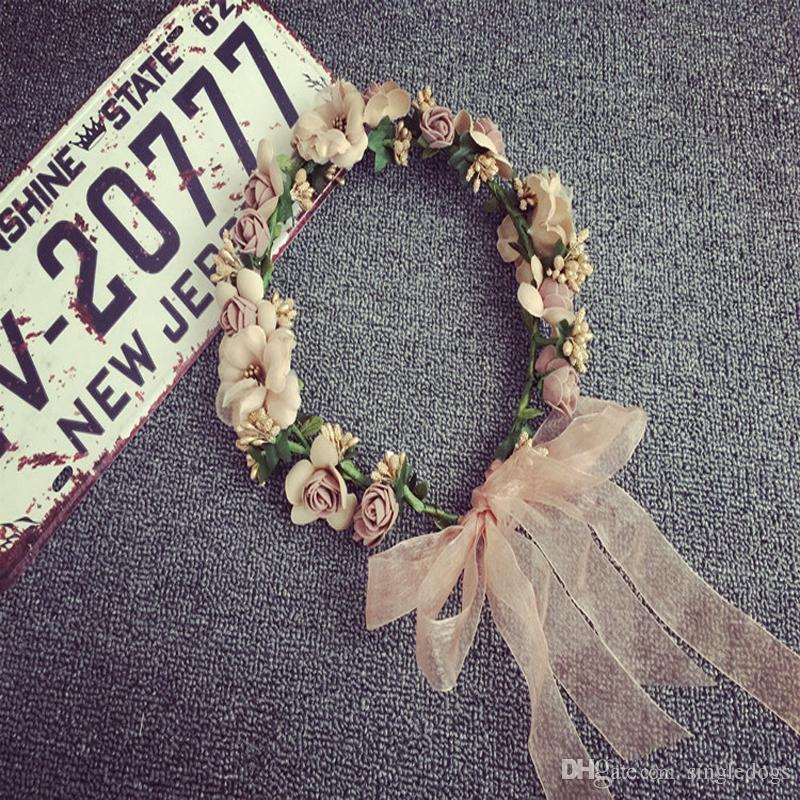 Toda la venta de joyería de las mujeres guirnaldas de boda nupcial del pelo venda de la flor de Boho con sombrero de paja corona floral Hairband Accesorios para el cabello