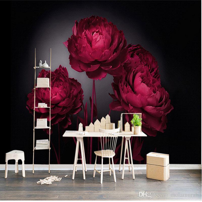 Пользовательские Фото 3D Обои HD Красный Флор цветок Арт Спальня Отель ТВ Диван Фон Фрески Стены Домашнего Декора Спальня Обои