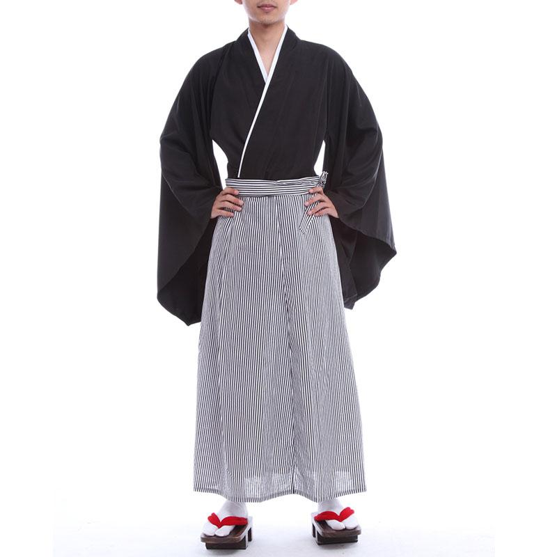Men Japanese Kimonos Traditional Clothing Samurai A Ninja Gongfu Cosplay Costume Long Summer Suit