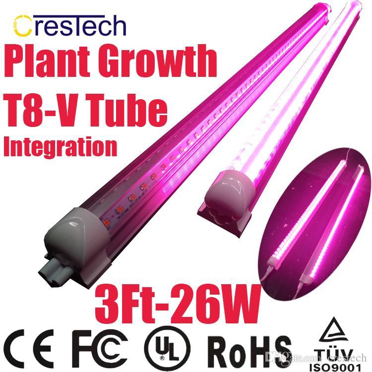 الشحن مجانا 25 قطع الصمام تنمو ضوء t8 v- شكل التكامل أنبوب الطيف الكامل للنباتات الطبية و بلوم الفاكهة الوردي اللون