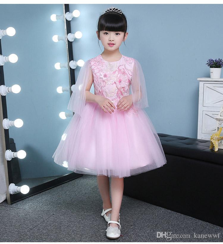 Carino gonfio rosa tulle ragazza matrimoni abiti appliques ball gown girl party comunione vestito bambino 1 anno compleanno battesimo abiti