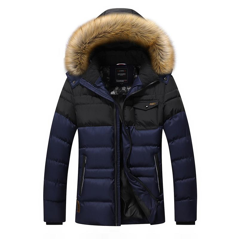 Toptan-Kalınlaşma Kış Ceket Erkekler Marka-Giyim Casual Kabanlar Parka Palto Aşağı Sıcak Ceket Kürk Yaka Fermuar Konfeksiyon DJ07402