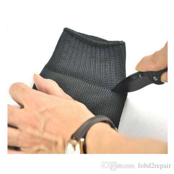 1 Para Schwarz Edelstahl Draht Widerstand Handschuhe Arbeitsschutz Ellenbogen Schutzhandschuhe Schnittfeste Anti Abrieb Handschuhe