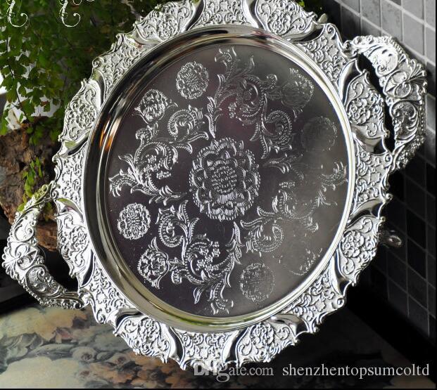 과일 호텔 레스토랑 가정 장식을위한 손잡이가 달린 둥근은 양각 된 금속 트레이 공급 트레이