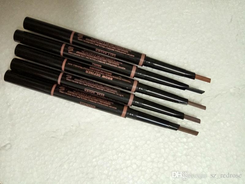 В наличии! макияж двойной карандаш для бровей бровей Брови definer тощий карандаш для бровей карандаш Карандаш черное дерево/мягкий коричневый/темно-коричневый / средний коричневый DHL Бесплатная доставка