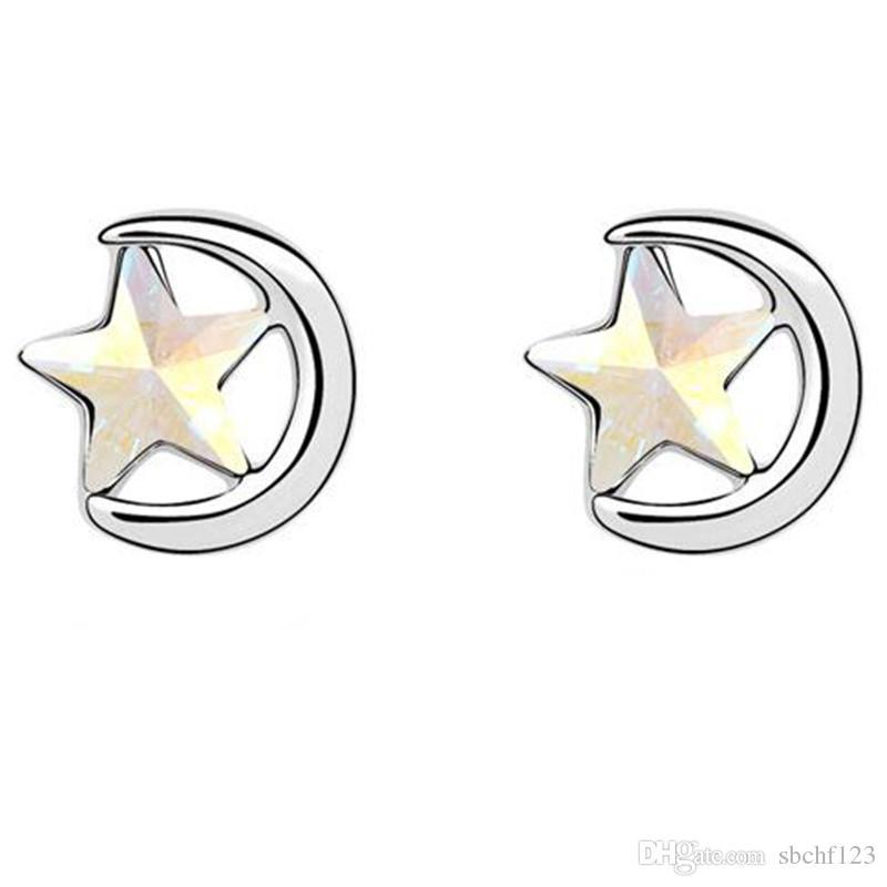 Modeschmuck Mond Sterne Ohrringe Kristall von Swarovski Elements Neue Ankunfts-Bolzen-Ohrring für Frauen 14504