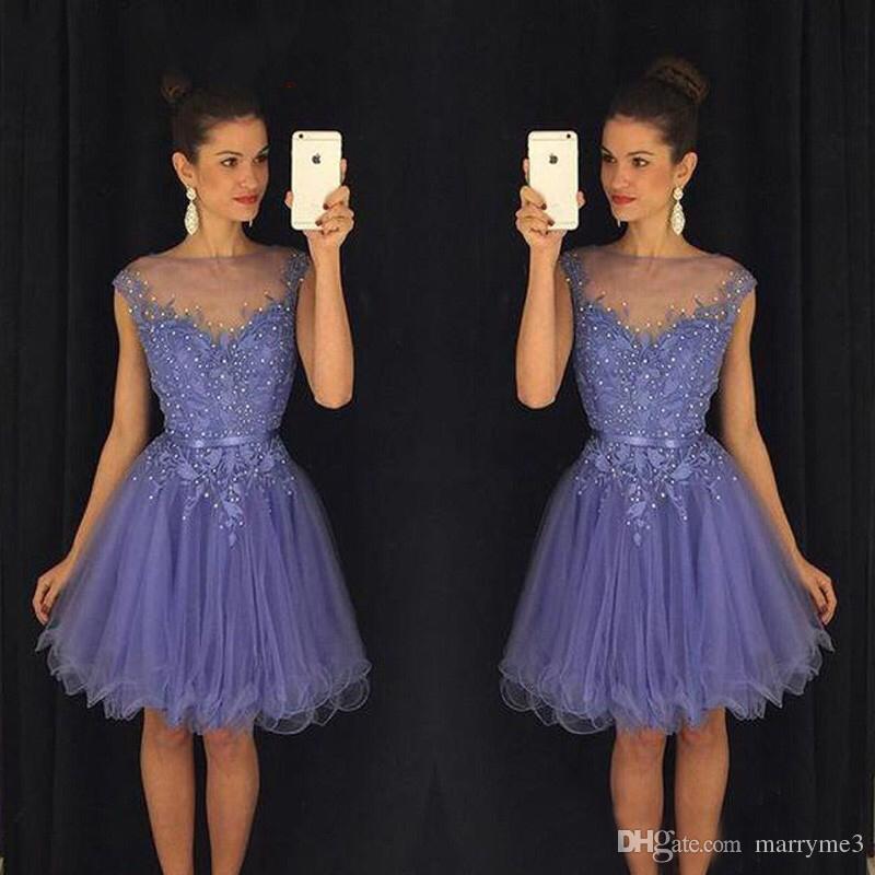Compre Lavender Keen Longitud Vestidos De Regreso A Casa 2017 Perlas ...