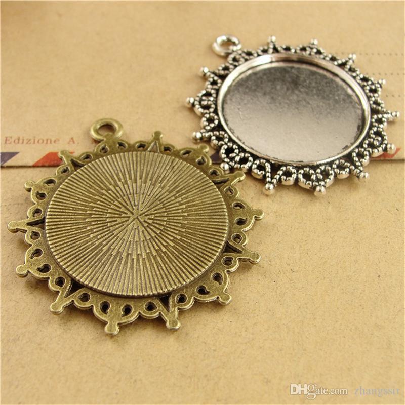 BoYuTe New Product 25Pcs Round 25mm Cabochon Tray Wholesale Antique Bronze Silver Plated Vintage Pendant Base