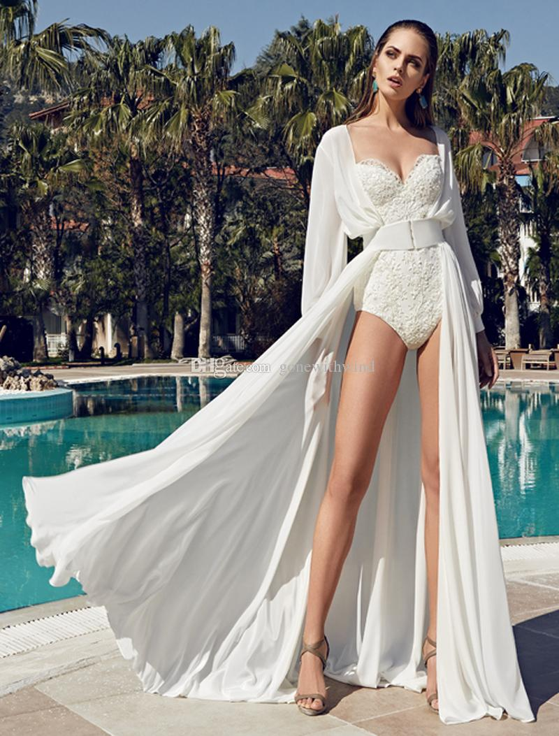 sexy summer beach wedding dresses 2017 with split sweep train ...