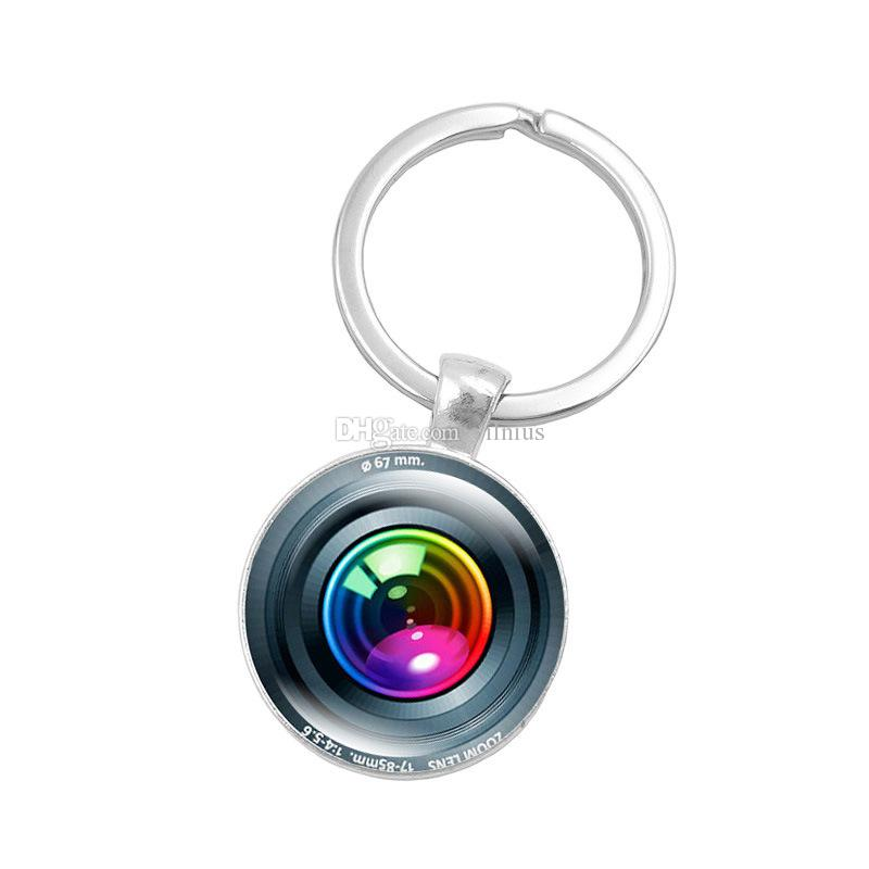 Hot!10pcs Silver Color Key Chain Camera Lens Keychain Jewelry Handmade Art Glass Pendant Keyring Key Ring for Women New Gifts