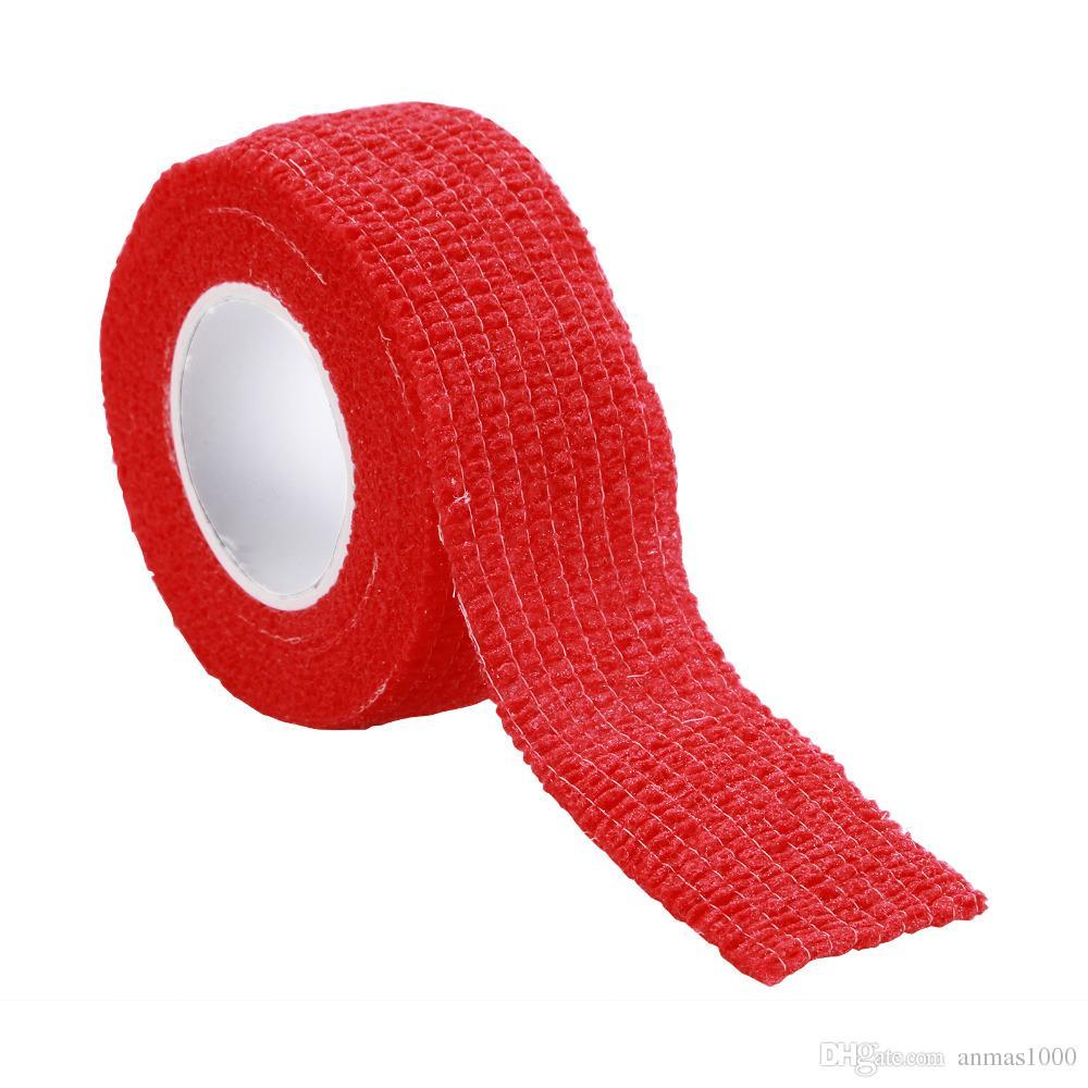 Atadura do dedo do envoltório da fita vermelha de 5 rolos, FERRAMENTAS do CUIDADO DO SALÃO DE BELEZA do PREGO DO ARCO - dedo alívio de dor dos protetores do dedo do pé 2.5 * 4.5cm
