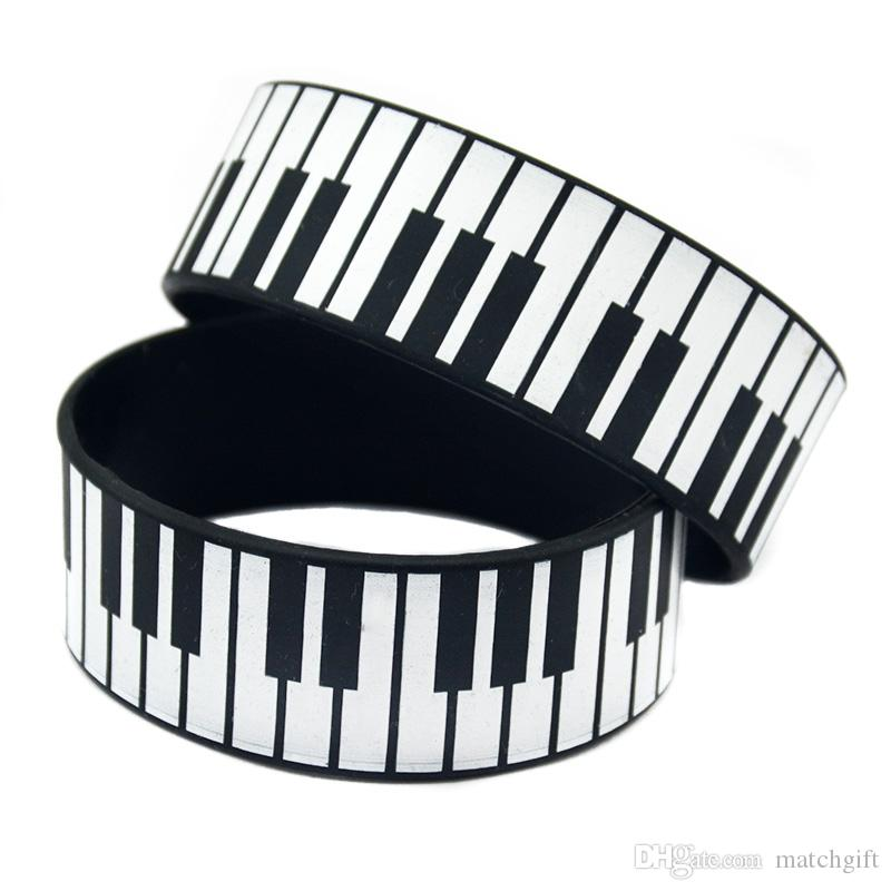 50PCS 1 Inch Wide Printed Big Piano Keys Silicone Rubber Wristband Decoration Bracelet For Music Fans