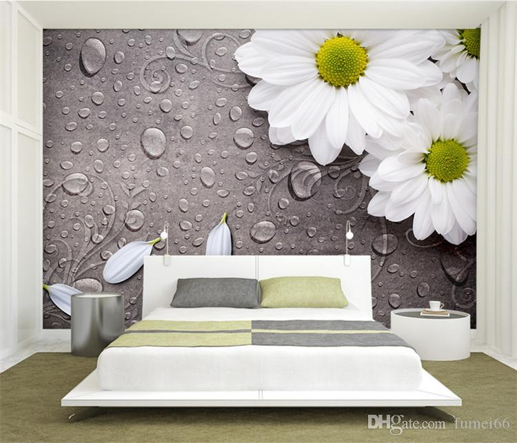 Custom 3D Photo Wallpaper Bedroom For Walls White Water Droplets Flower  Background Decorative Wall Murals Wallpaper Living Room 3d Wallpaper 3d ...