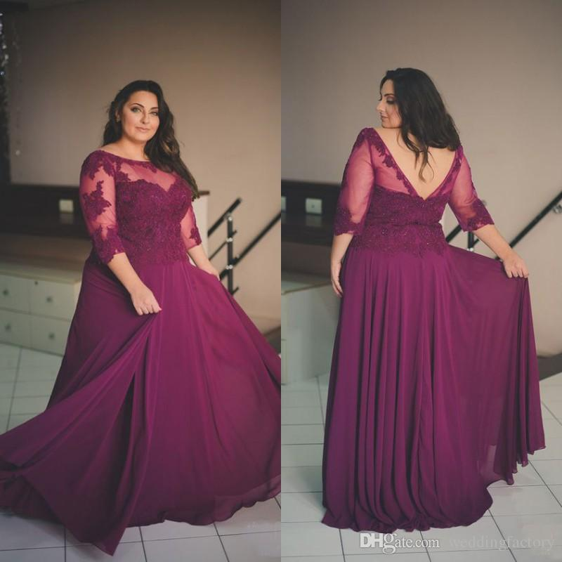 Plus Size Evening Gowns Purple Chiffon Backless Prom Dresses Sheer Neck  Lace Appliques Top Formal Dress With Illusion Sleeves Custom Made Plus Size  ...