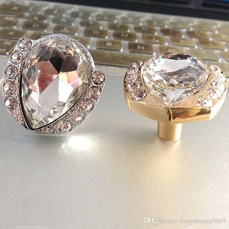 Modern Fashion Diamond Crystal Furniture Knobs Gold Silver Drawer Cabinet  Dresser Furmiture Door Handles Pulls Knobs ...
