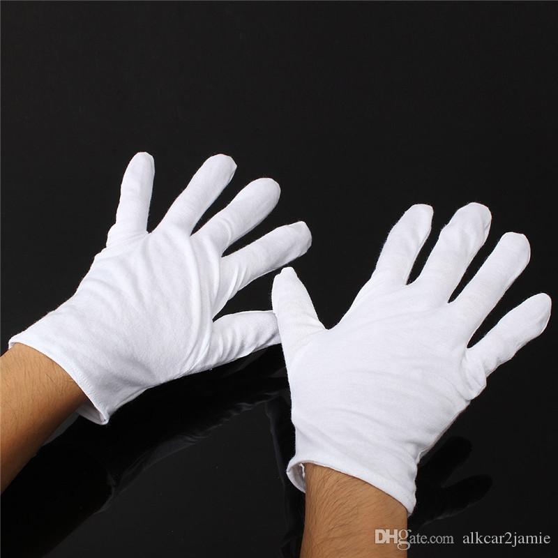 24 pezzi = 12 paia Guanti in cotone bianco Guanti da servizio / camerieri Concierge Butler Snooker Guanti equestri
