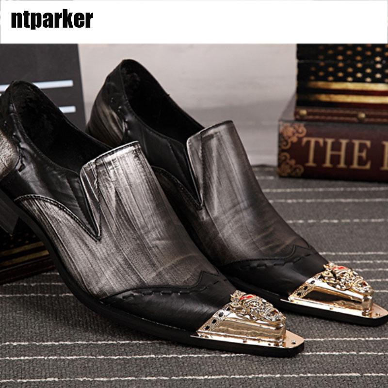Edizione limitata Zapatos Hombre Luxury Fashion uomo Scarpe in pelle Slip on Formal Dress Shoes Metal Toe Party Scarpe da lavoro per uomo