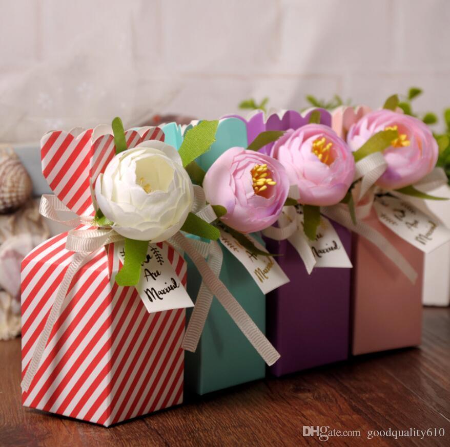Tipo-2 scatole di cioccolatini della scatola di Candy del fiore di 50pcs 12 * 5 * 5cm con il nastro per il regalo di favore della doccia della festa nuziale