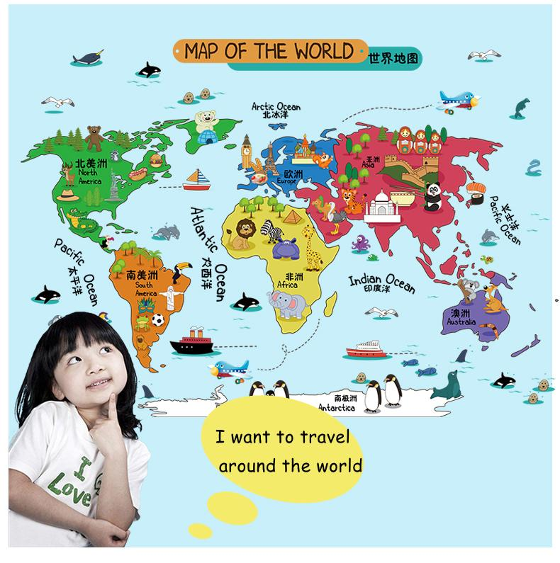 Removable wall stickers cartoon world map stickers with animals removable wall stickers cartoon world map stickers with animals chinese english name kids bedroom kindergarten home gumiabroncs Images