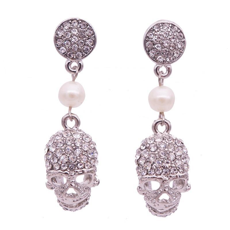 2017 new punk crown skull Dangle earrings for women Jewelry Fashion club Halloween delicate gem crystal skeleton drop earrings Free shipping