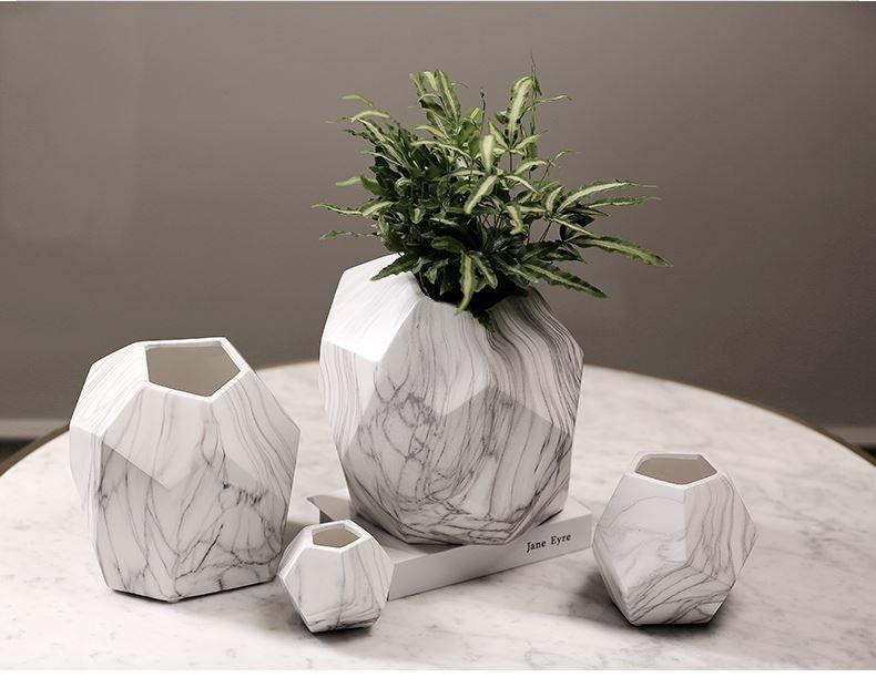 Irregular Home decor vasos de flores vasos de cerâmica vaso de grãos de mármore textura veia decorativa vaso de flores plantadores HWD46