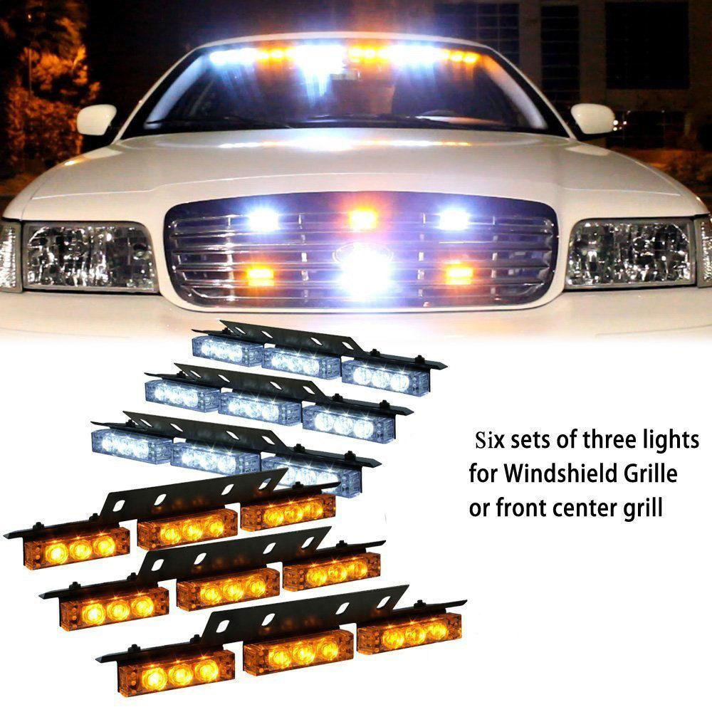 54 LED WHITE AMBER YELLOW 6X 9LED EMERGENCY WARNING TRUCK CAR SUV STROBE FLASH LIGHT