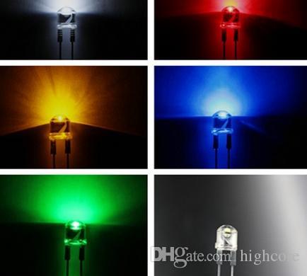 MIX Through Hole High Power 0.5w 8mm Diodo LED Rojo / Verde / Azul / Amarillo / Color blanco