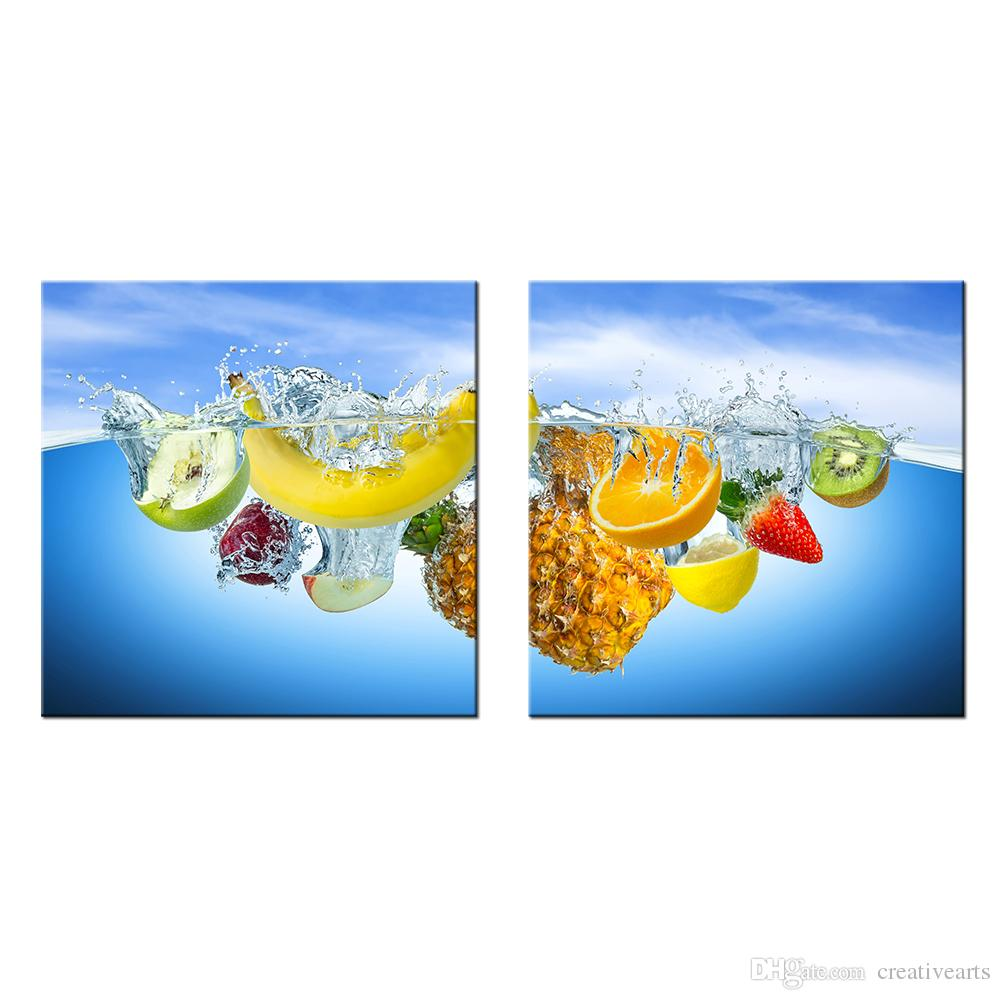 HD Fruit Picture Wall Decor Banana Drop into the Water Canvas Wall Art for Home and Office Decoration Wholesale 2 Panels