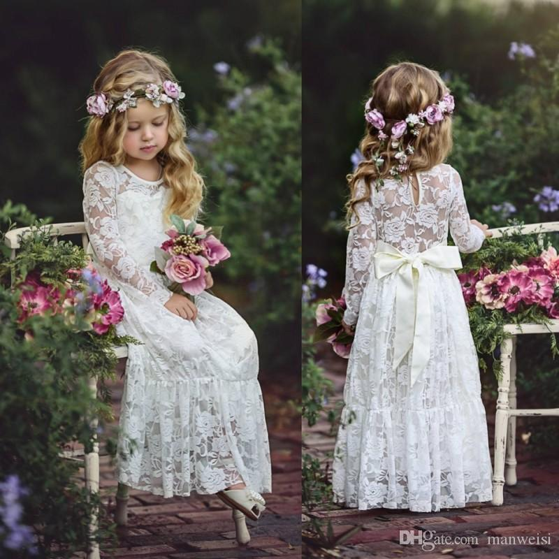 Long Sleeve Boho Flower Girls Dresses For Wedding Floor Length Lace Little Kids First Communion Dress Vintage Cheap Pageant Gowns
