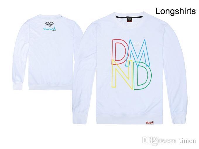 diamant t-shirt à manches longues derniers styles nouvelle arrivée mode casual coton t-shirts pour hommes garçons hip hop long tee-shirts vente sueur livraison gratuite