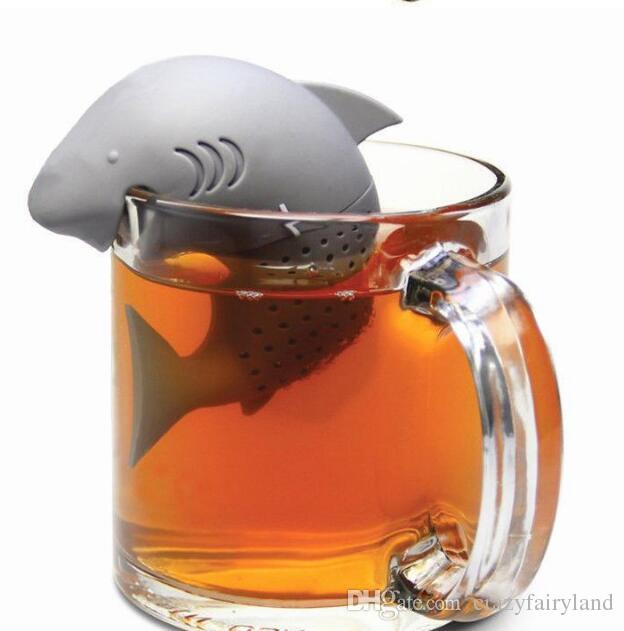 Bonito Tubarão Silicone infusor de Chá Filtro Coador de Ervas Especiarias Filtro Filtro Difusor Bule de Chá Saquinhos de Chá para o Café Drinkware TOP1499Z