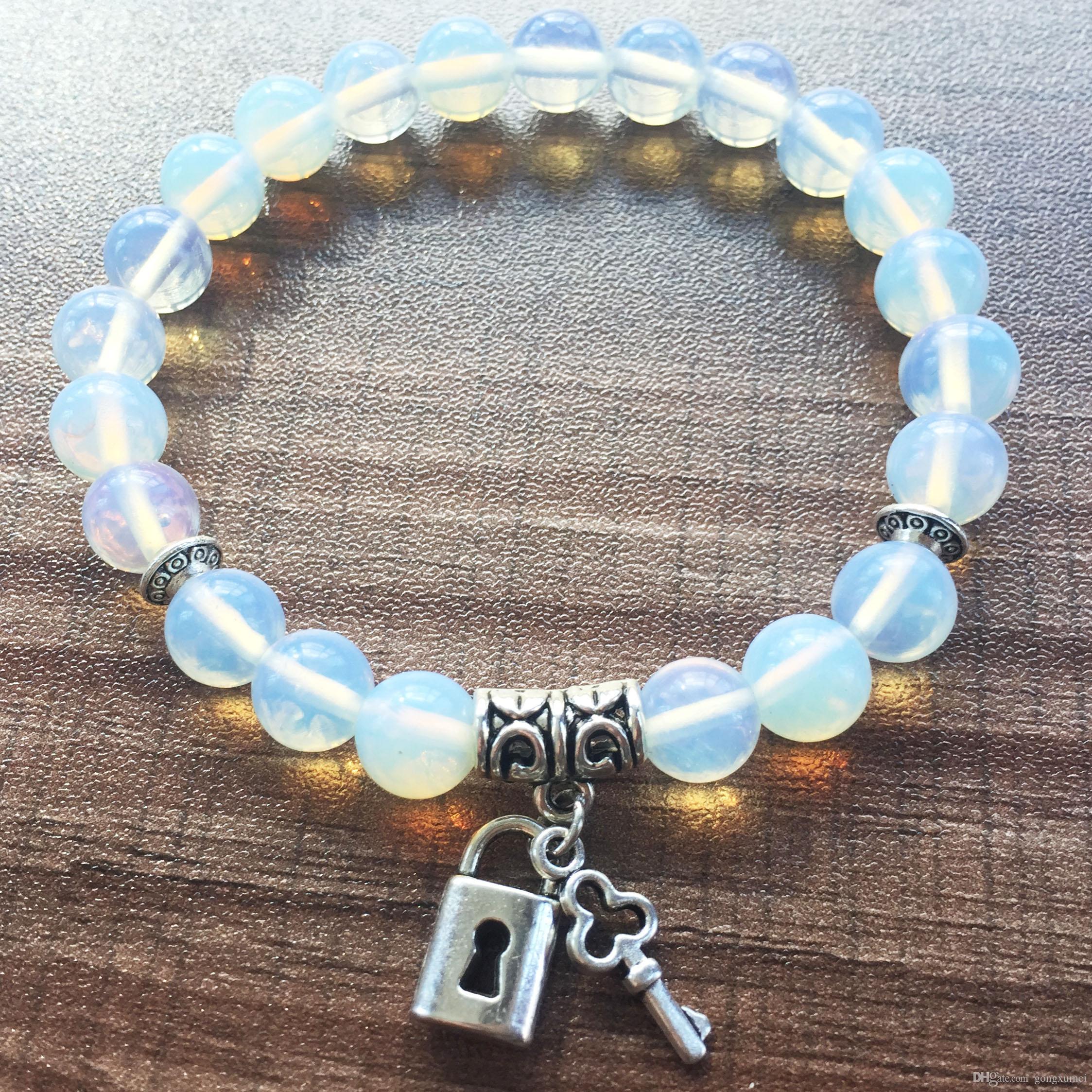 8 мм опал браслет любовь ключ кулон/любовь замок кулон круглый Браслет из бисера женщины мужчины йога молитва браслеты мала бусины браслеты