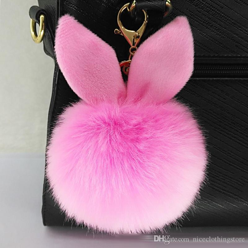 100pcs/lot DHL Free Shipping New Design Doll Genuine Rabbit Ear Shape Fur ball Plush Key Chains Car Keychain Bag Pendant Fashion Accessories