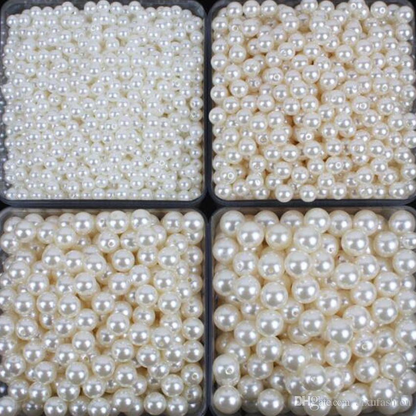 100 unids / lote Nuevo Blanco ABS Perlas de Imitación Perlas Haciendo Joyería Diy Granos de La Joyería Collar Hecho A Mano Perlas Perlas Sueltas Redondas para Manualidades