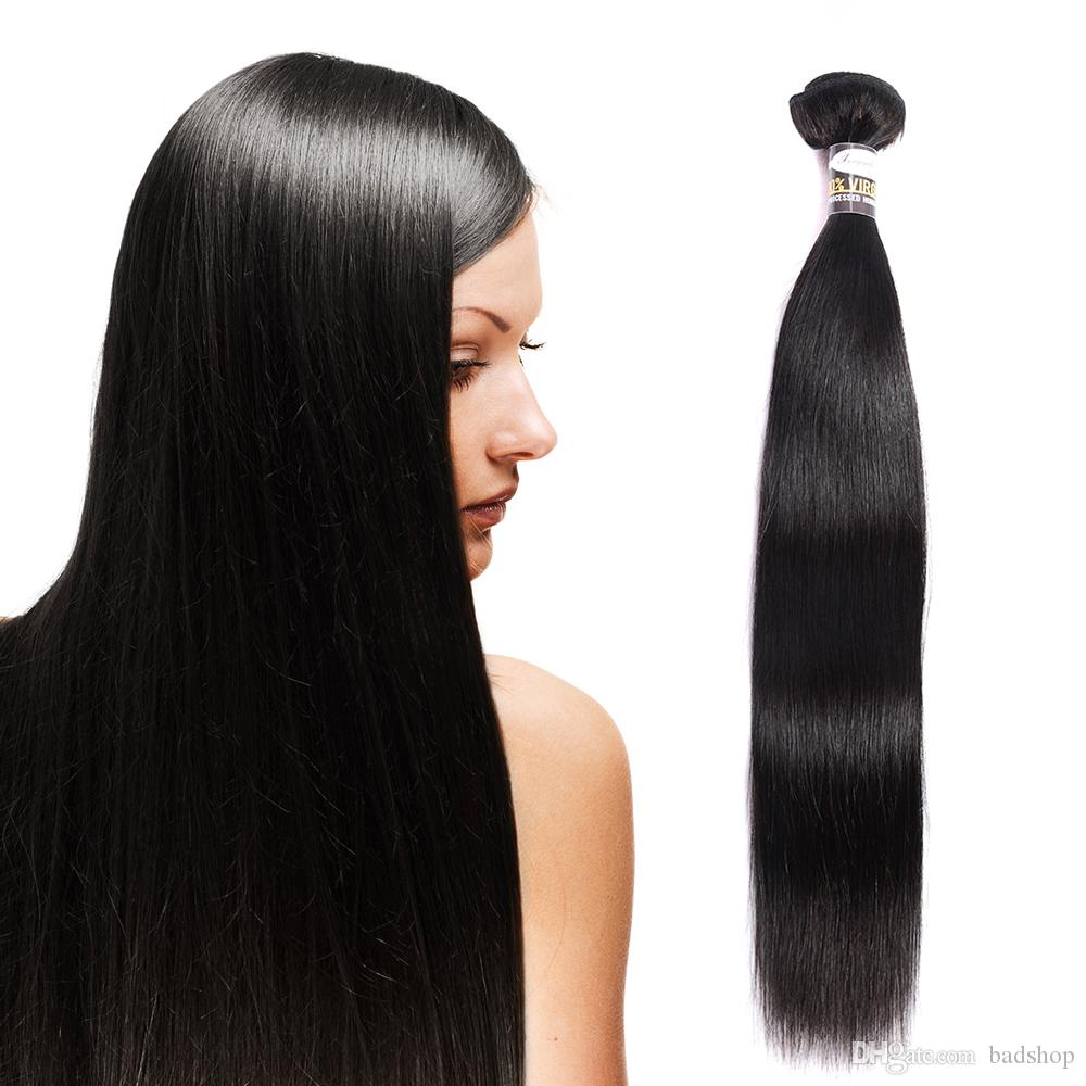 Badshop 9A Malaysian Virgin Glattes Haar 3 Bundles Malaysian seidige gerade Remy Haar Günstige Haarverlängerungen Natural Black