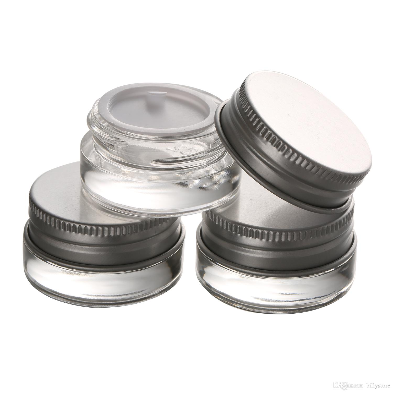 Vasetto di vetro di alta qualità da 5 g con coperchio in alluminio, contenitore cosmetico a bocca larga da 5 ml, confezione cosmetica per crema per gli occhi