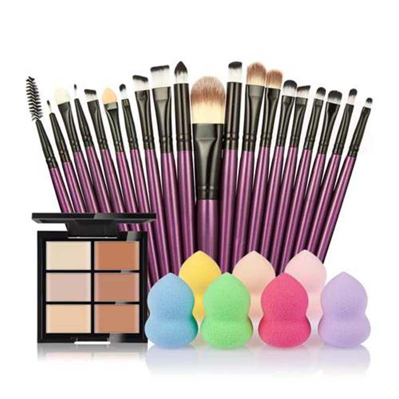 Vente en gros - Ensembles de maquillage 6 couleurs cosmétiques correcteur + 20 pinceau de maquillage + maquillage éponge feuilletée outils de beauté Kosmetika # 121