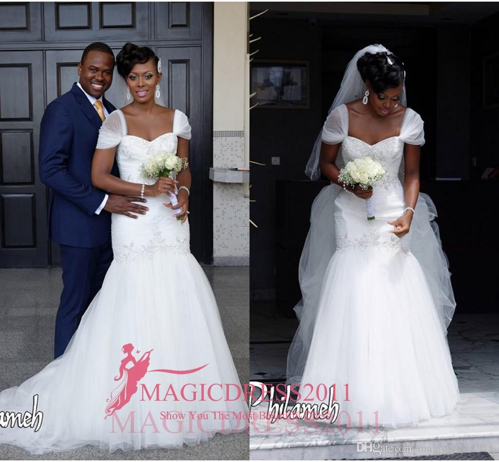 2016 Beautiful Nigeria Wedding Dresses Mermaid Sheer Straps Heavily ...