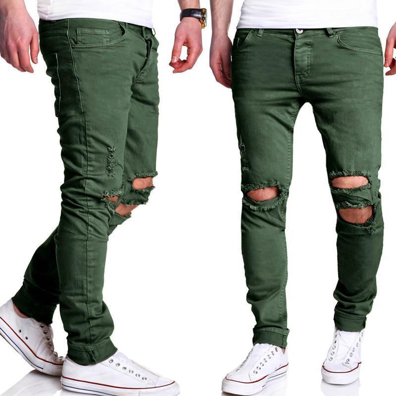 Gros-Droite déchiré Pantalon Hommes 2017 Brand New Hip Hop Vert Maigre Jeans Hommes Slim Fit Biker Jeans Homme Pantalons Casual Pantalons Hommes