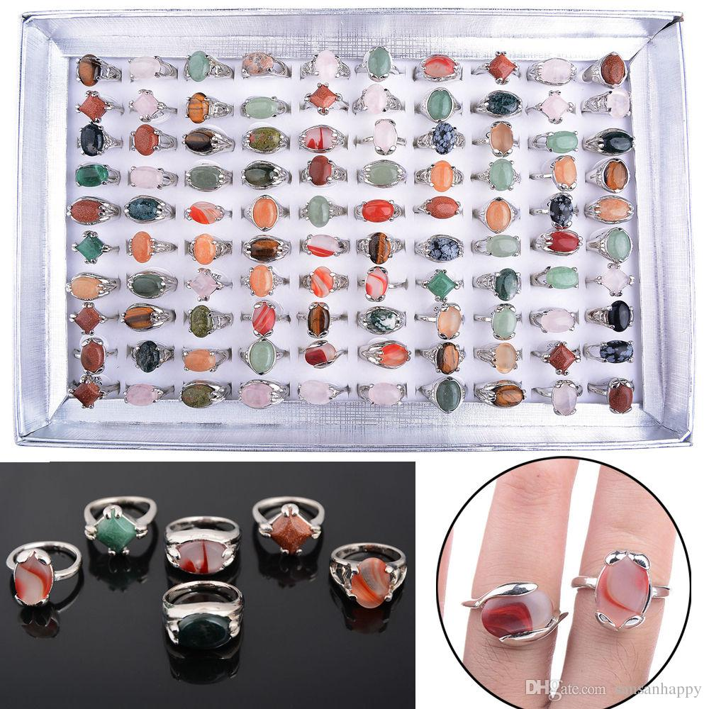 Partihandel 100PCs Olika Naturliga Unisex Stone Top Rings Storlek 16-20 inklusive displaybox