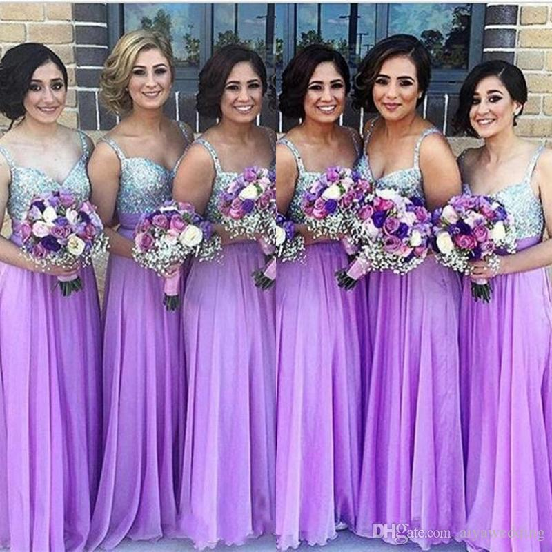 autumn shoes search for best more photos Purple Bridesmaid Dresses 2019 A Line Spaghetti Strap Beaded Sequined  Chiffon Wedding Guest Dress Long Pleats Zipper Cheap Party Gowns Cadbury  Purple ...