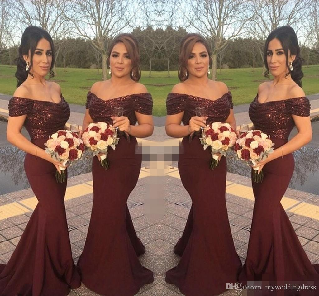 Cheap Burgundy Sequins Off Shoulder Long Bridesmaid Dresses Short Sleeve  Mermaid 2017 Country Formal Wedding Guest ...
