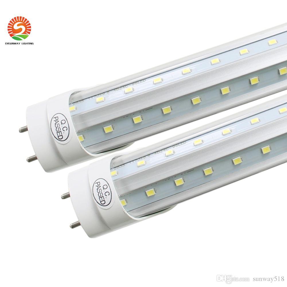 G13 T8 LED أنبوب الخفيفة 2 دبوس 8FT و 6ft 5FT 4FT 1.2M-2.4M LED V الشكل مزدوجة الوهج الخفيفة على الباب برودة