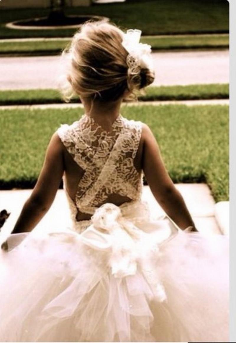 New Fashion Tulle Custom Cute Little Flower Girl Dress Piano Lunghezza Ball Gown Fiori Archi Bambini Prom Abito da compleanno 19