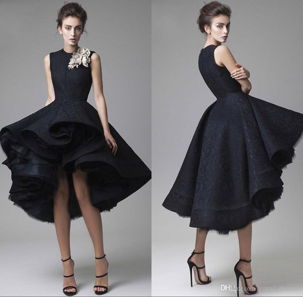 Krikor Jabotian Prom Dresses Fatto a mano Flower Jewel Neck Black knee lunghezza abiti da sera formale senza maniche Red Carpet Party Dress