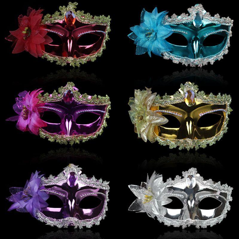 Halloween Party Venice Mask Lace Diamond Party Leather Mask Lily Princess Lace Mask
