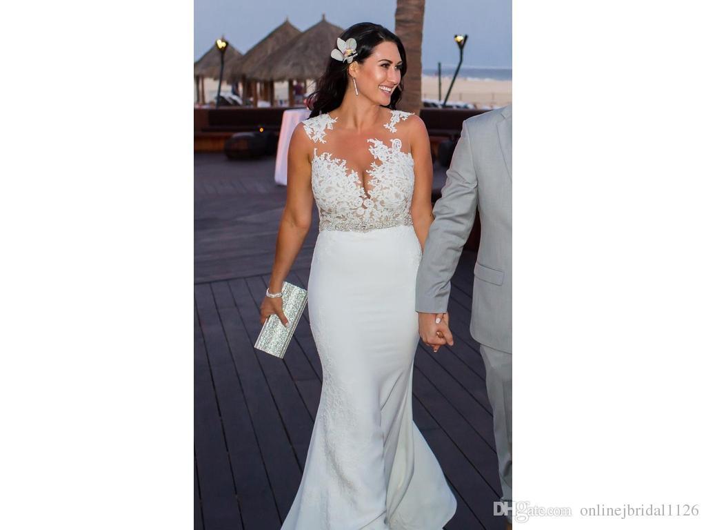 Sheer Illusion Tulle Bodice Mermaid Lace Appliques Belt Sleeveless Custom Size Sexy Bridal Gown Wedding Dresses COR-659 Noiva Renda Vintage