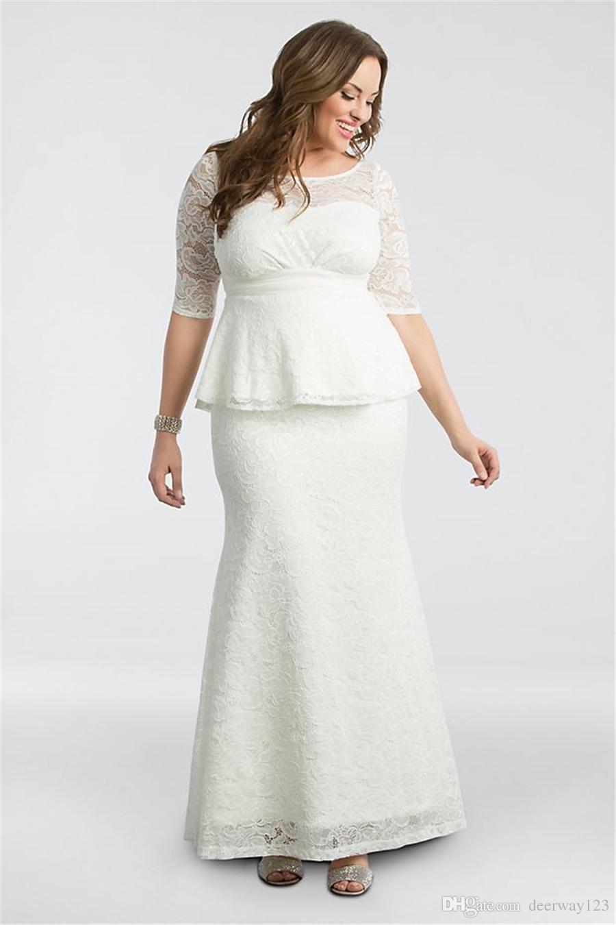 peplum plus size wedding gown 19150908 half sleeves scoop neckline mermaid  lace bridal dress floor length vestido de noiva 2019 red mermaid wedding
