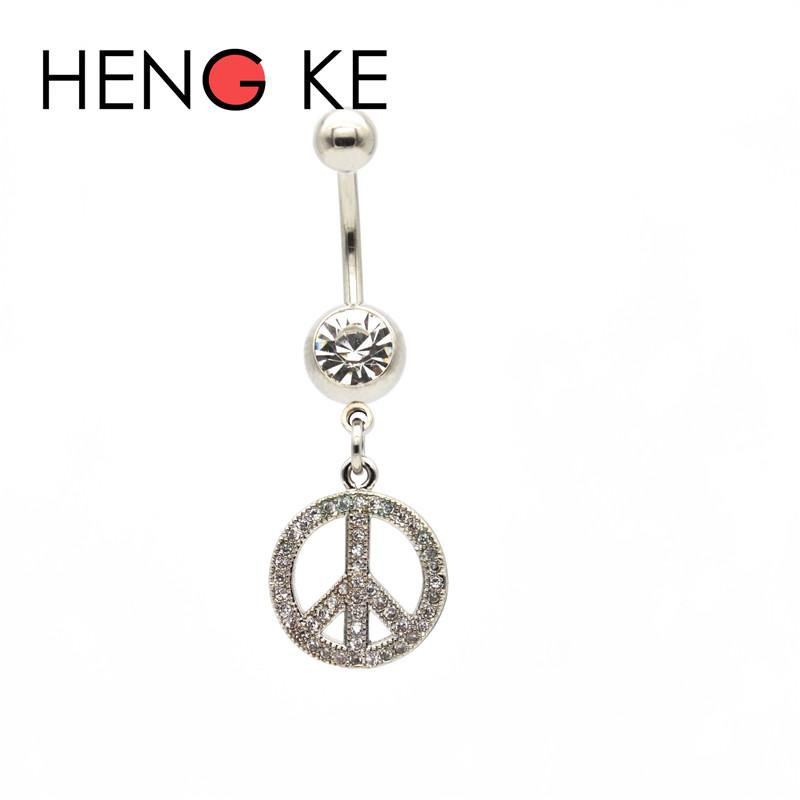 Crystal Belly Bar Peace Sign Zircon Surgical Steel Clear CZ gems Dangle Navel Rings Button Beautiful Body Piercing Jewelry Sexy