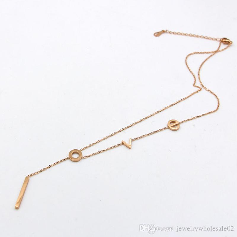 Moda takı paslanmaz çelik Zincir Kolye Kolye aşk Moda Kristal Parti / Düğün Takı Kadınlar Için